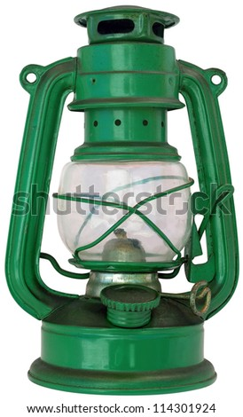 green petroleum lamp isolated