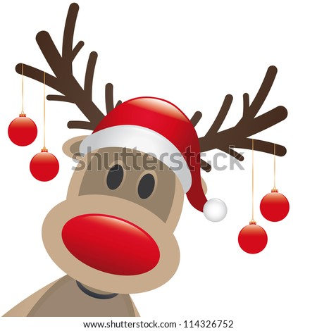reindeer red nose hang
