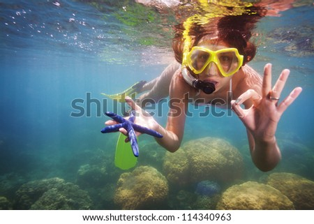 funny snorkeler showing