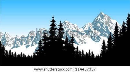 vector panorama of mountains