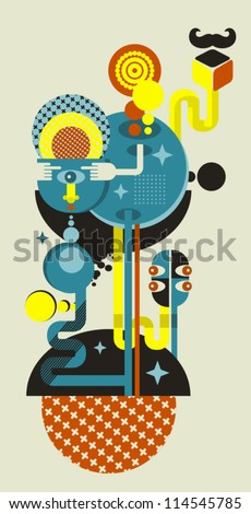 abstract monsters world vector