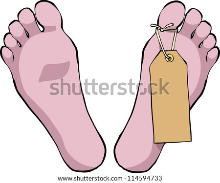 feet with a tag on a white