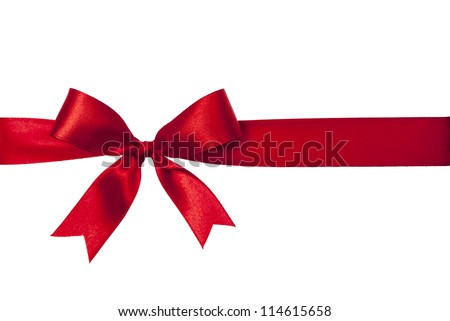 shiny red satin ribbon on white