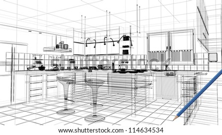 3d linear kitchen interior