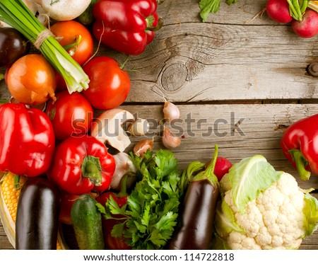 healthy organic vegetables on a