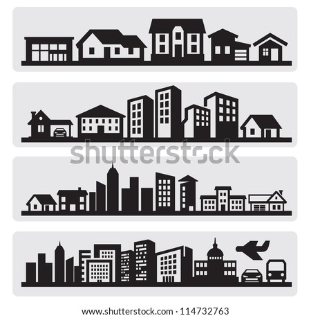 vector black cities silhouette