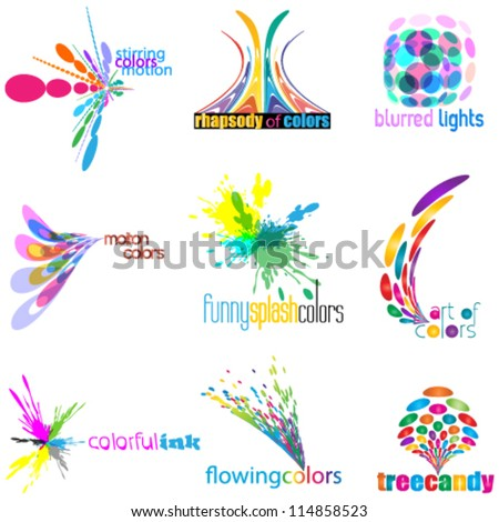color concept logo set  icon