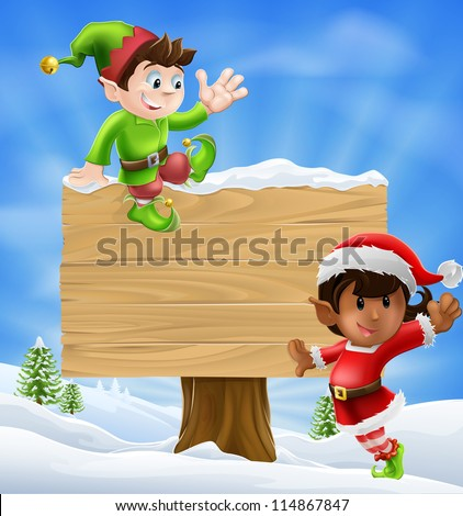 seasonal cartoon of two