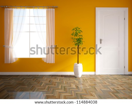 orange empty interior with a
