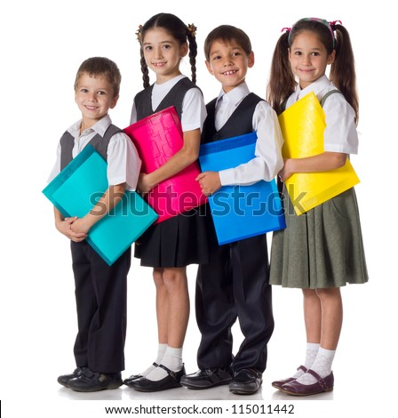 four smiling schoolchild