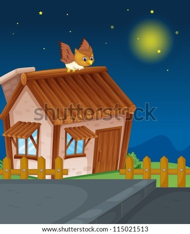 illustration of a house and owl