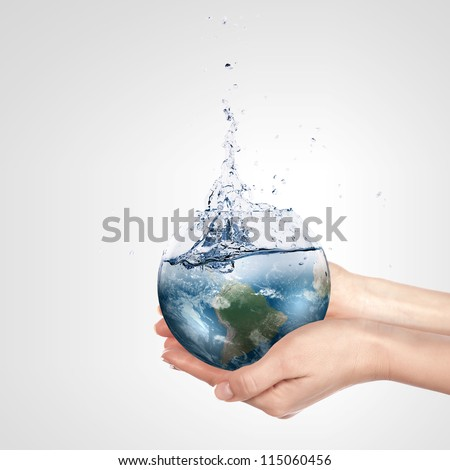 globe in human hand against