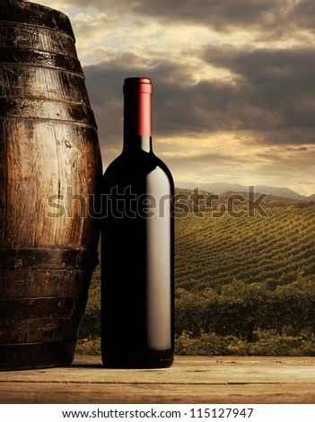 red wine bottle and wodden