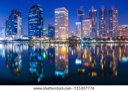bangkok city at night with
