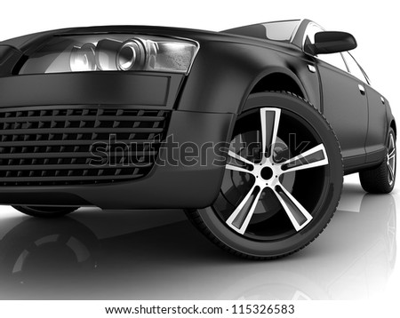3d matt black car design
