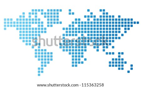 dotted world map made of