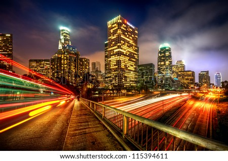 light trails through city