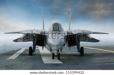 an f 14 jet fighter on an