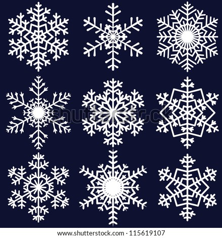 beautiful snowflakes set for