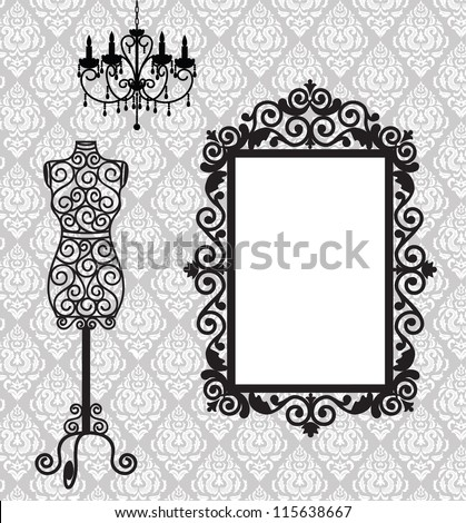 antique frame  mannequin and