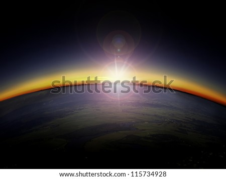aerial view of sunrise sunset
