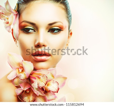 beautiful girl with orchid