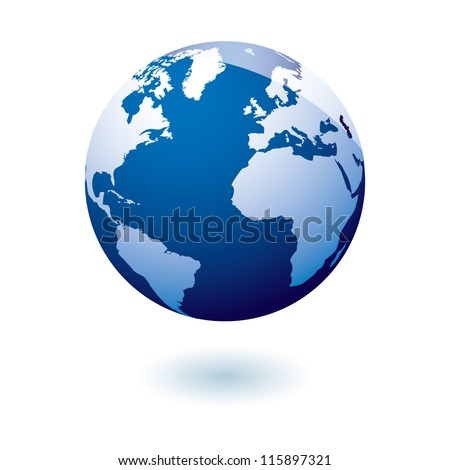 simple blue earth icon in the
