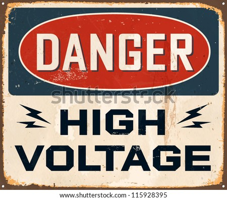 vintage metal sign   danger