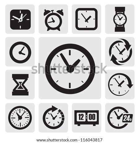 vector black clocks icons in