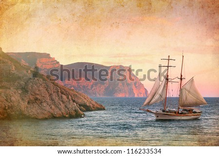 sailing ship sails along the