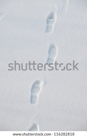 footprints in fresh white snow