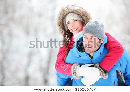 happy winter travel couple man