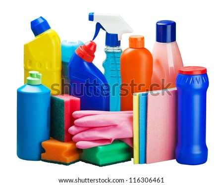 cleaning equipment isolated on