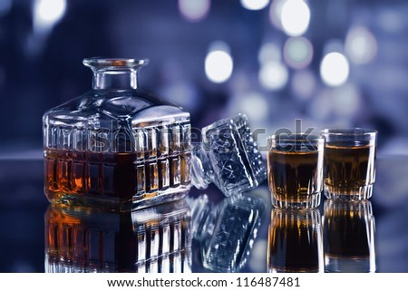 crystal whiskey decanter on a