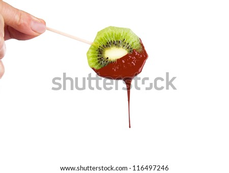 kiwi dipped in melting dark