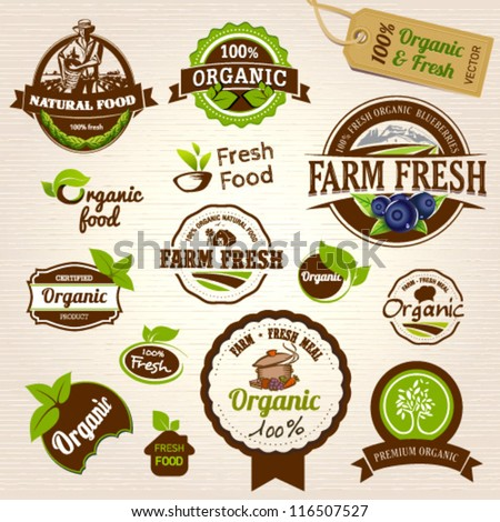 set of fresh organic labels and