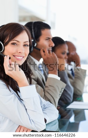 young smiling call centre agent
