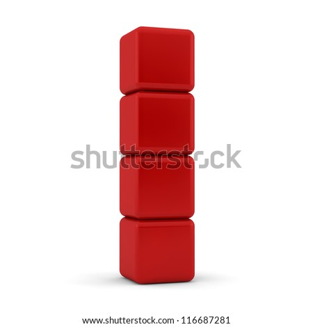 four 3d simple red cubes with