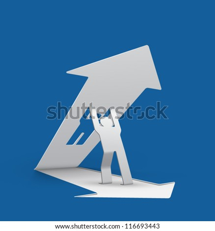 origami man lifting upwards an