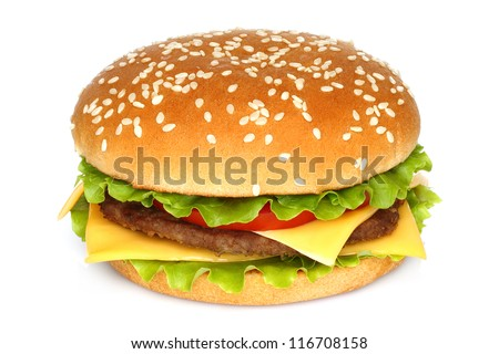 big hamburger on white