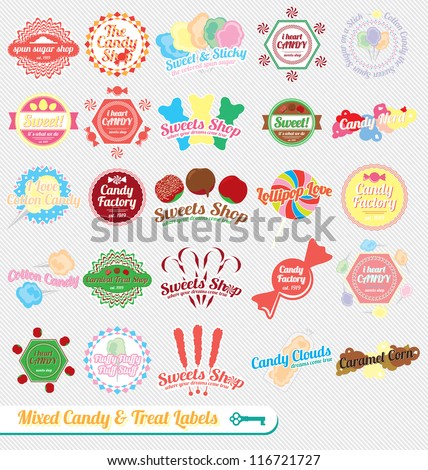 vector set  vintage mixed candy