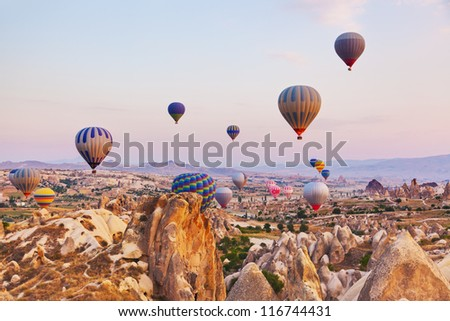 hot air balloon flying over