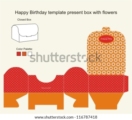 red and orange present box with