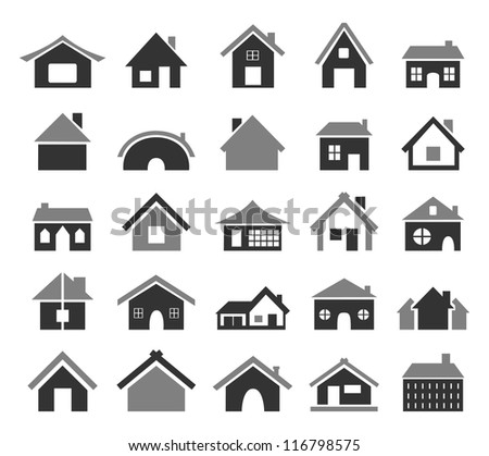 set of icons of houses a