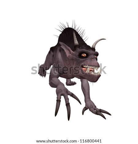 3d creature isolated on a white