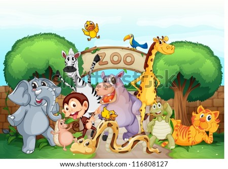 illustration of a zoo and the