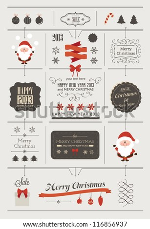 set of christmas vector