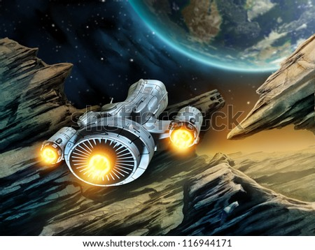 futuristic spaceship traveling