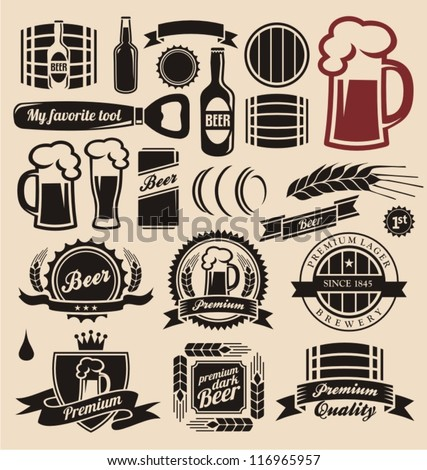 beer icons  labels  signs
