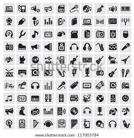 vector black music icons set on